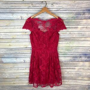 Cynthia Steffe Red Lace Dress